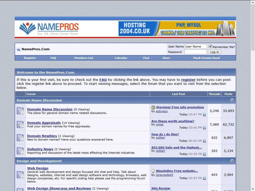 Namepros 2004
